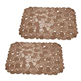 mDesign Adjustable Kitchen Sink Dish Drying Mat/Grid - Soft Plastic Sink Protector - Cushions Sinks, Stemware, Glasses, Dishes - Quick Draining Pebble Design - Small, 12.4' Long - 2 Pack - Amber Brown