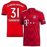 adidas Bayern München Home Schweinsteiger 31 Trikot 2018/2019, Herren, rot, Small