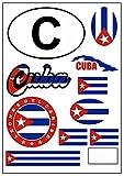 aprom Kuba Aufkleber Karte Stickerbogen - PKW Auto Motorrad Biker Flagge Fahne Tuning