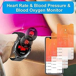 Smart Watch, LCW Fitness Tracker Watch with Heart Rate Blood Pressure Monitor, Blood Oxygen Meter, Body Temperature Measurement, Step Counter, Sleep Tracker, IP67 Waterproof Smartwatch for Men Women