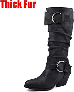 Women Western Boot Pointed Toe Buckle Chunky Heel Faux Leather Cowboy Knee High Mid Calf Bootie