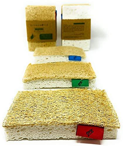 Greenw0rld® Luffolle | 3er Set waschbarer Reinigungsschwamm, Küchenschwamm, Spülschwamm, Geschirrschwamm, Putzschwamm | 100% ökologisch | Plastikfreie Alternative für Geschirr, Oberflächen & Körper