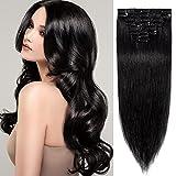 20cm - Silk-co Extensiones de Pelo Humano Clips 8 Piezas 18 Clips 100% Remy Cabello Natural 45g Clip in Hair Extensions - 1# Negro Azabache