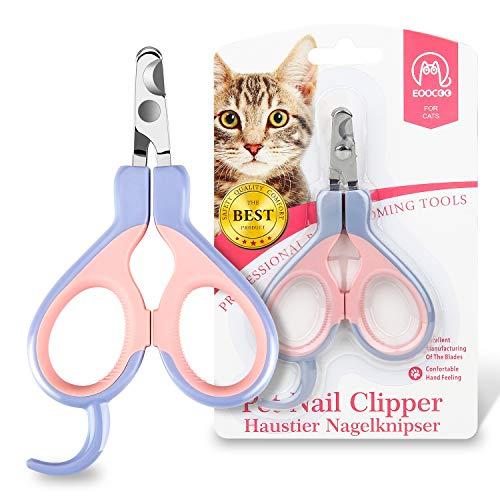 EooCoo Krallenschere für Katzen, Welpen, Profi Nagelschere für Kleintiere, Haustiere, 25 Grad Gebogenes Design Nagelknipser, lila