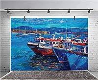 GooEoo 7x5ft 海辺の港のアート写真の背景フォトギャラリーブースの背景家族の休暇の誕生日パーティーの写真のビニール素材
