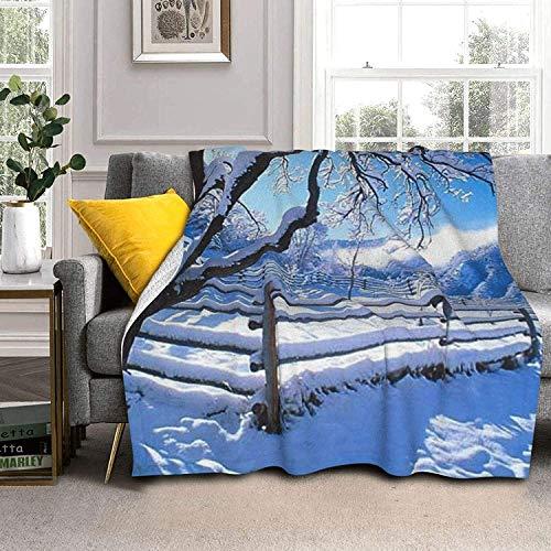 Snow Scenery Lamb Wool Throw Blankets Silver Fox Fur Blanket Ultra-Soft Throw Blanket for Sofa Bed Men Women & Baby
