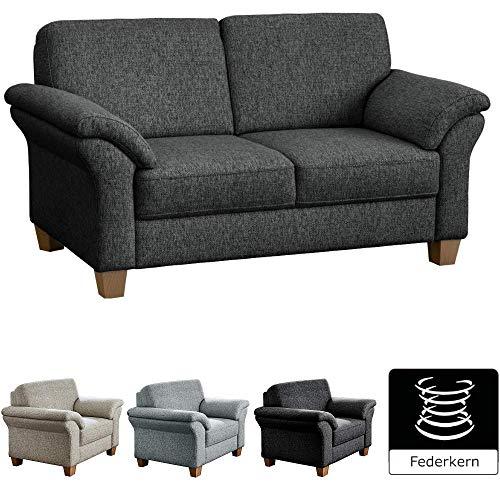 CAVADORE 2-Sitzer Byrum / Große 2er-Couch im Landhausstil mit Federkern / Passend zur edlen Sofagarnitur Byrum / 156 x 87 x 88 / Flachgewebe: Grau