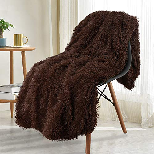 Noahas Shaggy Longfur Throw Blanket with Sherpa Warm Underside, Super Soft Cozy Large Plush Fuzzy Faux Fur Blanket, Lightweight and Washable Kids Girls Room Decorative Blanket, 50''x60'', Brown