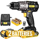 Cordless Drill, 20V Drill Driver 2x2000mAh Batteries, 530 In-lbs Torque, 24+1 Torque Setting, Fast Charger 2.0A, 2-Variable Speed, 33pcs Accessories, 1/2' Metal Keyless Chuck, Upgraded Version TECCPO