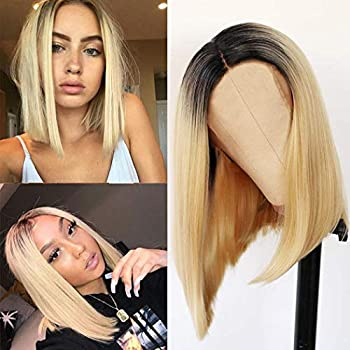 Relena 613 Ombre Blonde Wig for Women Middle Part Short Blonde Bob Wig Shoulder Length Brown to Blonde Ombre Wig 14 Inch Heat Resistant Synthetic Straight Bob Wigs for Daily Party Cosplay Use