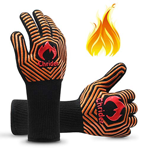 Chrider BBQ Gloves 1472°F Extreme Heat Resistant Grilling Gloves,...