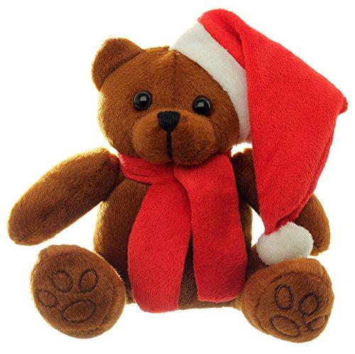 Weihnachtsbär 18cm mit Mütze und Schal Plüschbär zu Weihnachten