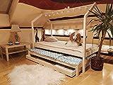 Oliveo Mon lit cabane Barrières de sécurité et tiroir, Lit pour Enfants,lit d'enfant,lit cabane avec barrière, 5...