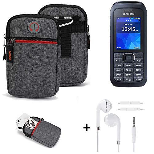 K-S-Trade® Gürtel-Tasche + Kopfhörer Für -Samsung Xcover 550- Handy-Tasche Schutz-hülle Grau Zusatzfächer 1x