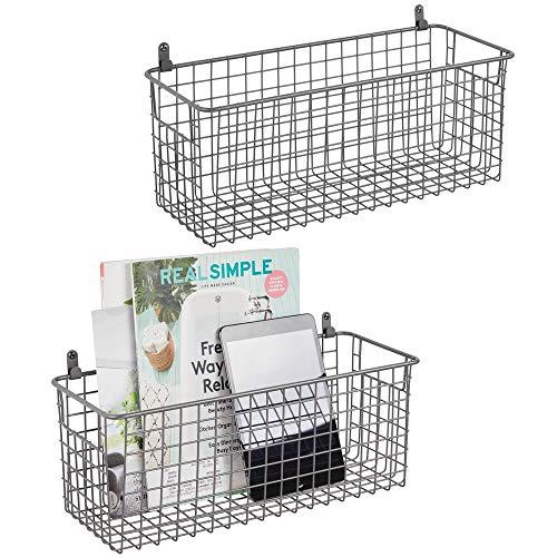 mDesign Juego de 2 estantes de pared de metal – Estantería de rejilla mediana para pasillo, dormitorio, etc. – Organizador de cartas, carteras, gafas de sol o accesorios de baño – gris