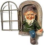 Gartenzwerg Statue, Miniatur-Gartenzwerg aus Kunstharz, Gartendekoration, Feengarten-Ornamente im Freien, skurriles Baum-Skulptur Gartendekoration (Fenstermann)