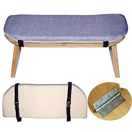 WLLL Banco de meditación, mesa de yoga hecho de bambú macizo, banco de meditación de rodillas para meditación profunda, para ceremonia de té, yoga, oración y sentado más saludable