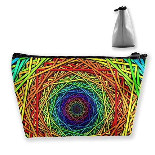 Damen Kosmetiktasche Kaleidoskop Muster Multifunktions Make-up Tragbare Tasche Handtasche Empfangstasche, Trapez