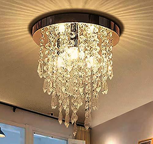 Jaycomey Mini Crystal Chandelier,Modern Crystal Flush Mount Ceiling Light Lamp,3 Lights Chandelier Lighting Fixture for Aisle,Hallway,Corridor,Living Room,Bedroom