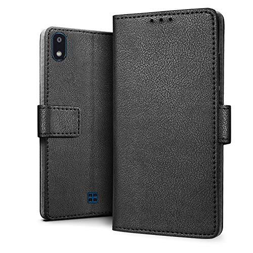 HDRUN Funda LG K20 2019 - Prima Libro de Cuero PU Tapa Billetera con Ranuras de Tarjeta Cierre Magnético Protección Carcasa Compatible para LG K20 2019, Negro