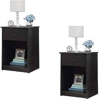 Amazon.com: Black - Nightstands / Bedroom Furniture: Home ...