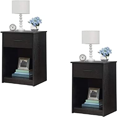 Set of 2 Nightstand MDF End Tables Pair Bedroom Table Furniture Multiple Colors (Gray) (2 Sets, Black)