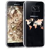 kwmobile Hülle kompatibel mit Samsung Galaxy S7 - Handyhülle - Handy Hülle Travel Umriss Rosegold Transparent