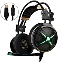 WeIM 2019 Gaming Headset Virgo M60 Black 7.1 Surround Sound for PC, Intelligent Vibration, Strong Bass, Voice Changer, Flexible Sensitive Mic, LED Illumination, USB Connector, Compatible with PS4