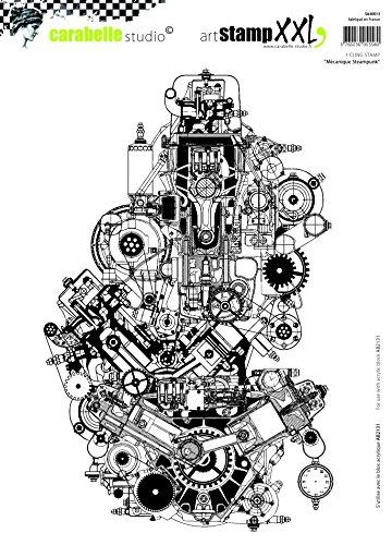 Carabelle Studio Cling Stempel XXL-Mechanical Steampunk, Rubber, White transparent, 19 x 27.5 x 0.5 cm