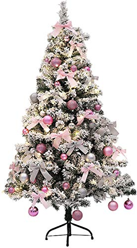 YUXO Snow Flocked Artificial Christmas Tree Zippered Artificial Christmas Pine Tree with Metal Stand Foldable Christbaum with Ornaments (Size : 90cm/3ft)