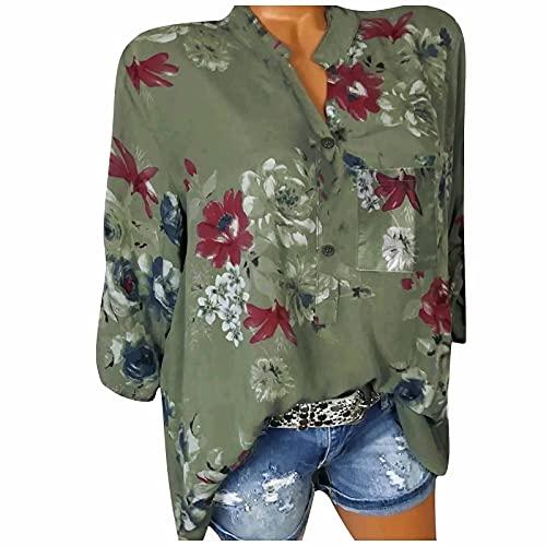 HolAngela Damen Bluse 3/4 Ärmel V-Ausschnitt Langarmshirt Oberteile Casual Blumen Tunika Tops Blumendruck Knopf Top Casual Sommertop Blusentops