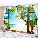 PPOU Tapiz de habitación con Vistas al mar, Tapiz de Playa con árbol de Coco para Colgar en la Pared, Tapiz Bohemio para decoración del hogar A15, 73x95cm