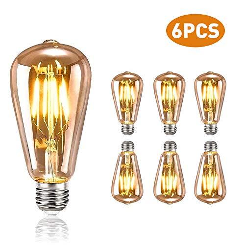 tronisky Edison Vintage Glühbirne, E27 4W LED Glühbirne Vintage Antike Glühbirne Warmweiß Dekorative Glühbirne Ideal für Nostalgie und Retro Beleuchtung im Haus Café Bar usw, 6 Stück