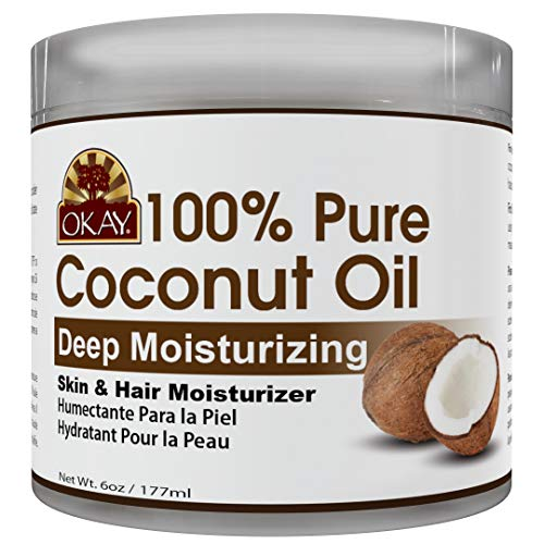 OKAY | 100% Pure Coconut Oil | For All Hair Textures & Skin Types | Moisturize - Massage - Condition | Excellent Source of Vitamin E | All Natural | 6 Oz