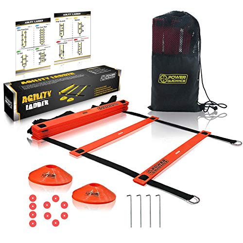 POWER GUIDANCE Agility Ladder (20 Feet) for Speed & Agility Trainning - with 12 Heavy Duty Plastic Rungs, Ground Stakes, Carry Bag & 8 Sports Cones (Red)