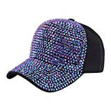 Surkat Gorra de béisbol con diamantes de imitación, ajustable, para coleta - - Talla única
