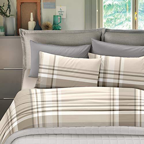 NuvolaNera Set completo lenzuola stampate in cotone 100% – per materassi fino a 25 cm. – 1 Piazza Singolo - Scozia Beige