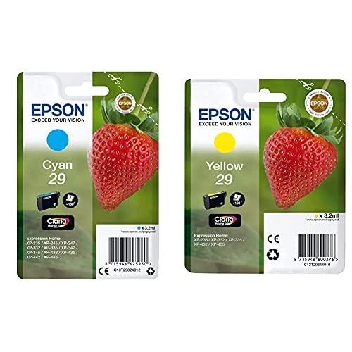 Epson C13T29824022 Cartucho De Tinta + Claria Home 29 Cartucho de Tinta estándar de 3,2 ml, Paquete estándar, Color Amarillo válido para los Modelos Expression Home XP-235, XP-442 y Otros