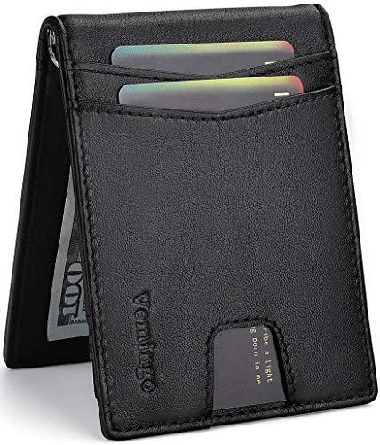 Vemingo Genuine Leather Men Wallets with Money Clip Minimalist RFID Blocking Credit Card Holder Slim Front Pocket Bifold Wallet, Black