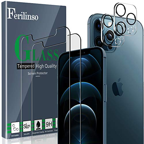 Ferilinso 2 Pack Screen Protector for iPhone 12 Pro Max with 2 Pack Camera Lens Protector [Tempered-Glass] [Military Protective] [HD Clear] [Case Friendly] [Anti-Fingerprint]