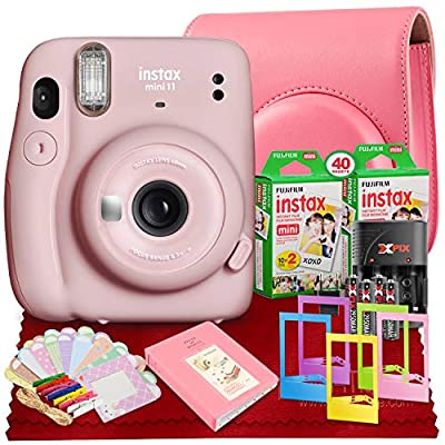 PS FUJIFILM INSTAX Mini 11 Instant Film Camera (Blush Pink) with Fujifilm Instax Mini Twin Film (40 Exposures), Accessory Case and Accessories Bundle from Ps
