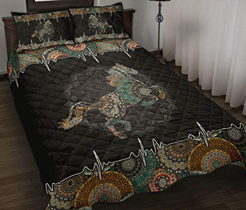 Wecco Horse Beautiful Quilt Twin Size - Unique 3D Design, Suitable for All Seasons with Mellow Cotton Material Comfortable and Luxurious.