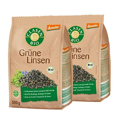 2x CLASEN BIO Demeter Grüne Linsen, getrocknet - 500 g