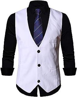 MU2M Men Hipster Slim Fit V-Neck 3 Button Solid Color Dress Vest Waistcoat