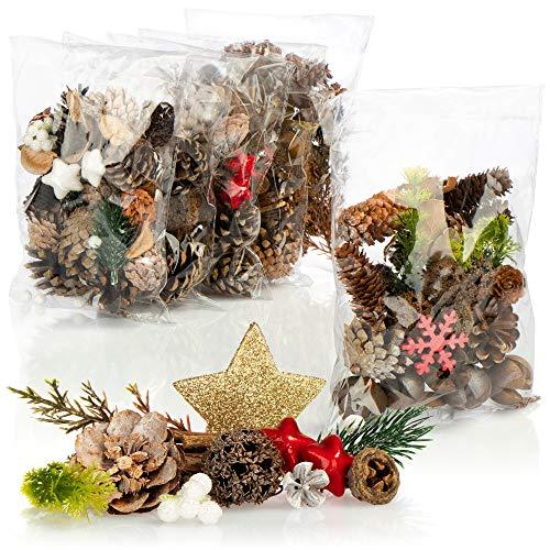 com-four® 6X Weihnachtsdekoration im Beutel mit Zapfen, Sternen und Zweigen - Streudeko weihnachtlich - Tischdeko - Adventskranz - Bastelzubehör (6X Beutel: Zapfen. Sterne. Flocken)