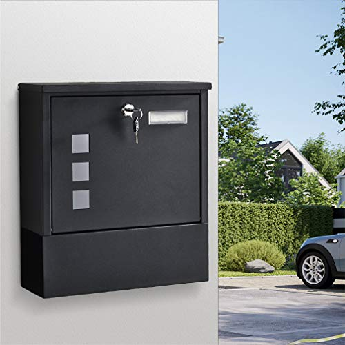 WOOHSE Briefkasten BON2608C Wandbriefkasten Postkasten mit integriertem Zeitungsfach, Namensschild, 3 Sichtfenster, 2 Schlüsseln, aus Edelstahl, Maße: 30 x 33 x 8,5 cm (BxHxT), Schwarz