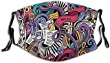 Clásico cómodo carbón activado máscara Música temática dibujado a mano instrumentos abstractos micrófono tambores teclado Stradivarius impreso decoraciones faciales para adultos-Colorful6