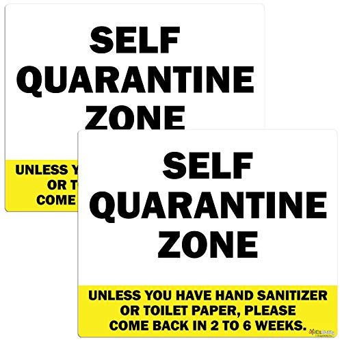 KitAbility Funny Self Quarantine Stickers for Homes, Bring Toilet Paper, Pair of Small Warning Yellow 5 by 4 Inch Stickers