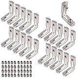 Soporte de Esquina 90 Grados Soporte de Ángulo Ranura en T Perfil de Aluminio Soportes en Forma de L Conector de Esquina Interior Soporte para Perfil de Extrusión de Aluminio 2020 Serie Pack de 20