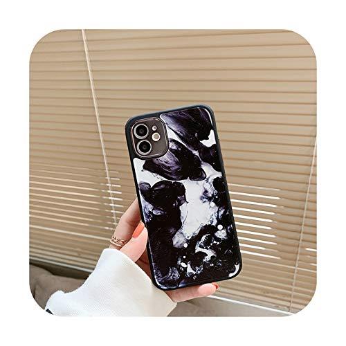 Para iPhone 12 Pro Case Heart Flowers Funda para iPhone 12 Mini 11 Pro Max 8 7 Plus X XS Max XR Mármol Suave TPU Bumper Cover -T14-Para iPhone 7 u 8